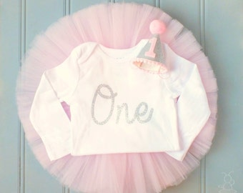 Pink and Silver Cake Smash Outfit Girl, First Birthday Outfit Girl, 1st Birthday Outfit Girl, First Birthday Tutu, 1st Birthday Tutu, SEWN