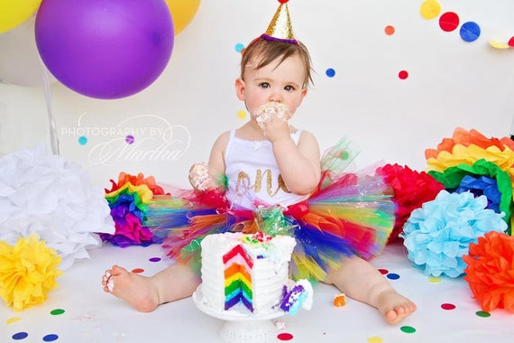 Rainbow First Birthday Outfit Girl Tutu Cake Smash
