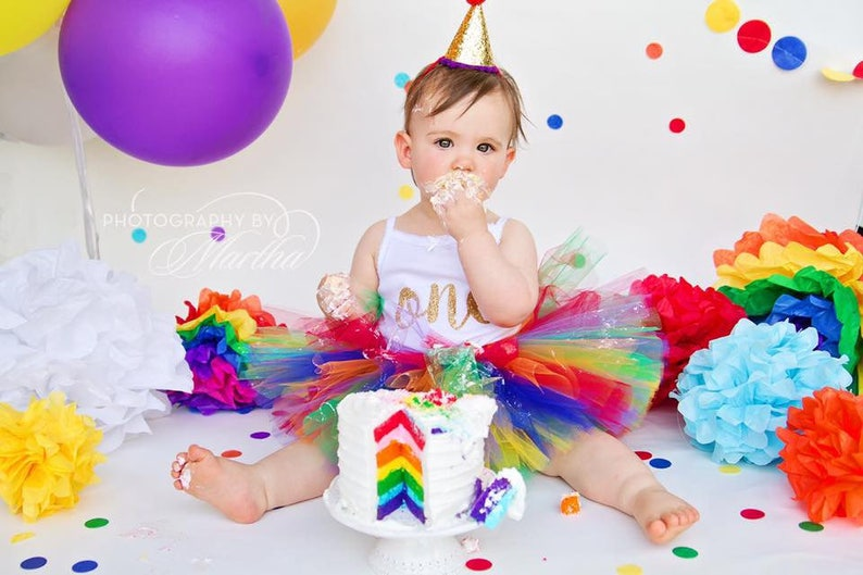 Rainbow First Birthday Outfit Girl Tutu Cake Smash 1st Baby