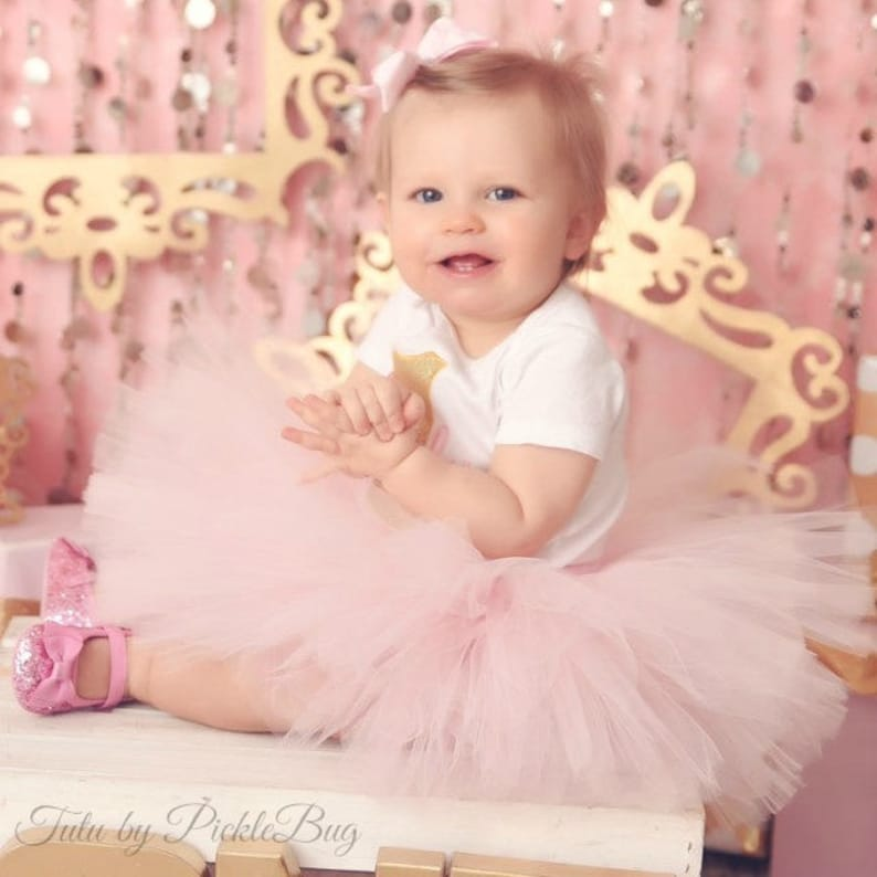 Pink Tutu Dress Set Tulle Skirt Baby Romper 1st Birthday Outfit Girl Cake Smash Outfit Girl First Birthday Outfit Girl Baby Headband