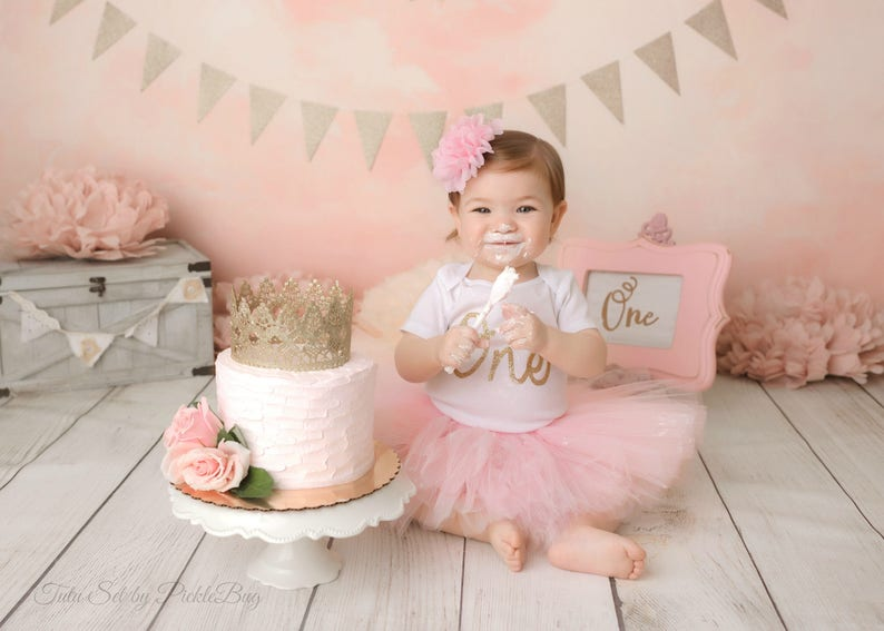 a77cb5d40 Pink and Gold Cake Smash Outfit Girl First Birthday Outfit | Etsy
