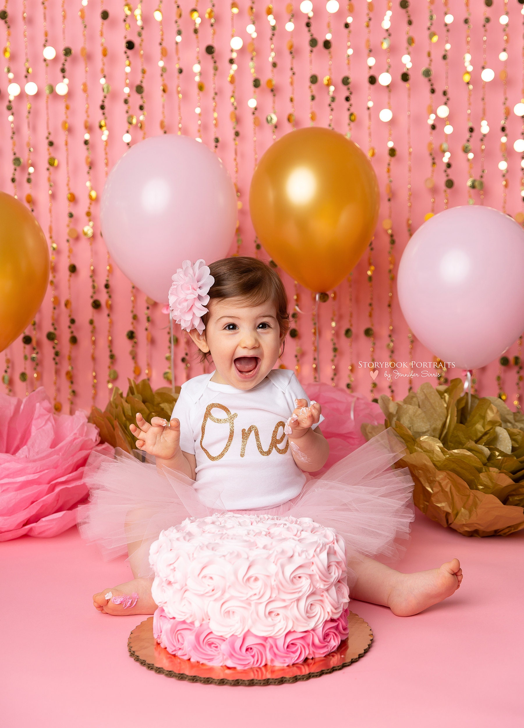 Wondrous Pink And Gold First Birthday Outfit Girl Cake Smash Outfit Etsy Funny Birthday Cards Online Alyptdamsfinfo