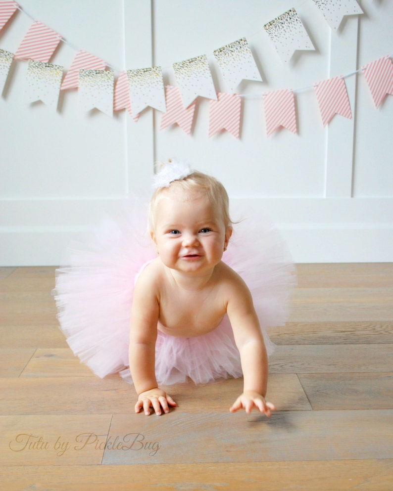 SEWN Light Pink Tutu and Glittery Mini Party Hat First Birthday Tutu Set Pink and Gold Tutu Set First Birthday Outfit Cake Smash Set