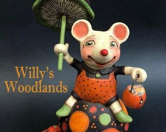 Willy's Woodlands – EHAG, Hand sculpted papier mache, original, mouse, mushroom, pumpkin, umbrella, Trick or Treat Halloween Alycia Matthews