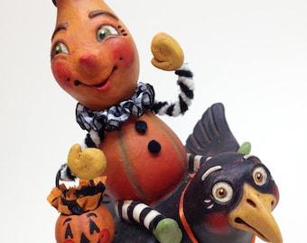 Nancy's Night Flight – EHAG, Hand sculpted, OOAK, original paper mâché, Halloween, Trick or Treat, gourd girl, crow, artist Alycia Matthews