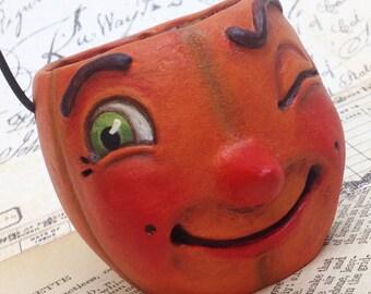 Paddy Pumpkin - EHAG - Hand sculpted OOAK, original paper mâché, pumpkin, candy cup, ornament, Halloween, trick or treat by Alycia Matthews