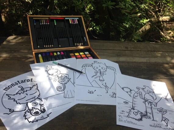 4 Monstarot digital Tarot coloring pages judgement strength | Etsy