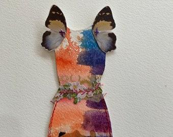 Butterfly Watercolor Paper Doll Dress