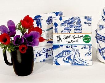 New! Seattle Bridges Tea Towel on White 100% Cotton Flour Sack Fabric