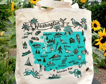 Washington State Natural Canvas Tote Screen Print Bag