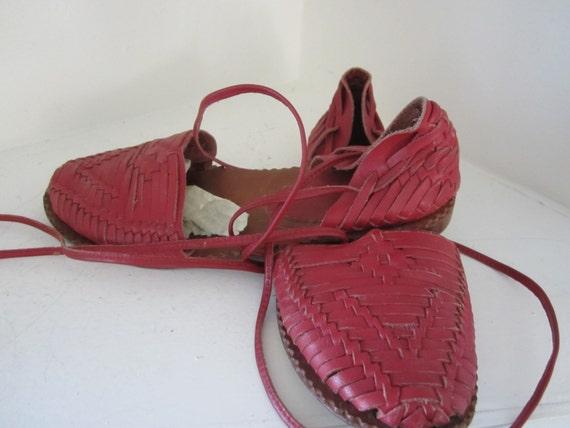 Vintage Gladiator Sandals Bohemian Red Leather San