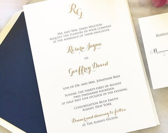 Gold and Navy Wedding Invitation - Monogram Invitations - Thermography - Simple Wedding Invite - Classic Wedding Invitations - Weddings