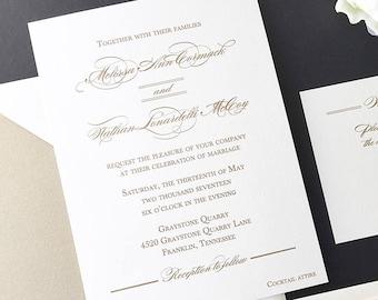 Gold Wedding Invite, Thermography Wedding Invitations, Simple Elegant Wedding Invitation, Romantic Wedding