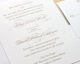 Gold Wedding Invitation, Elegant Wedding Invitation, Thermography, Classic Wedding Invitation, Elegant Invitation