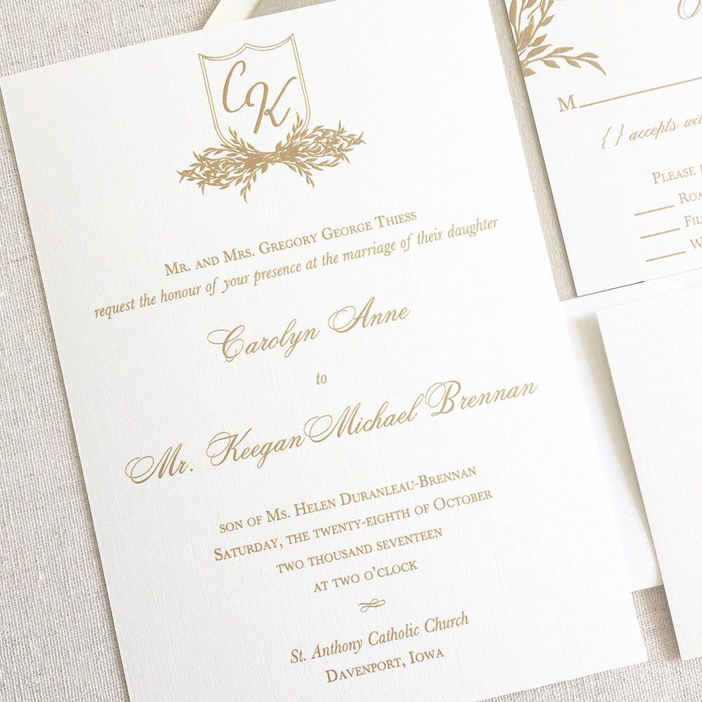 Monogram Crest Wedding Invitation Leaf Wreath Wedding
