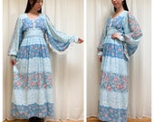 Ethereal 70s powder blue and pink rose angel sleeve maxi dress