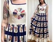 70s handmade navy patchwork quilt print maxi dress small