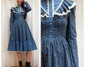 Candi Jones blue floral western ruffle dress