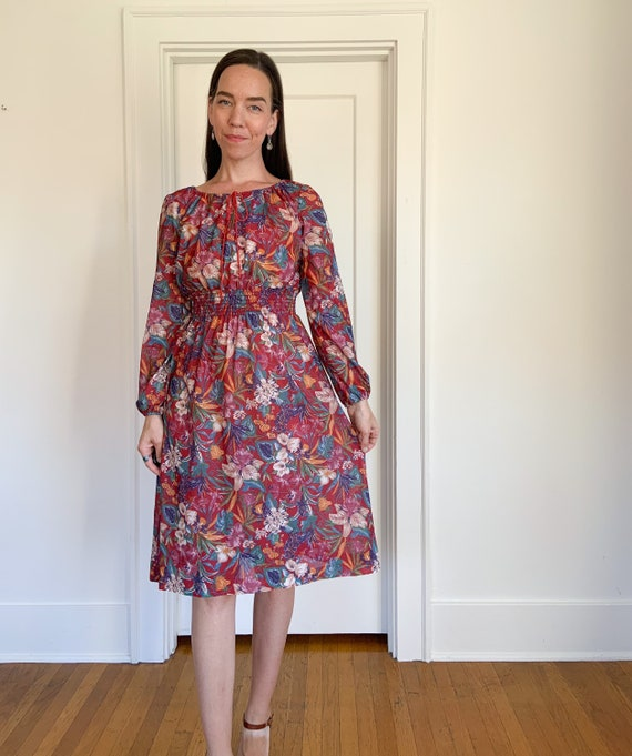70s lightweight red floral polyester dress - image 6