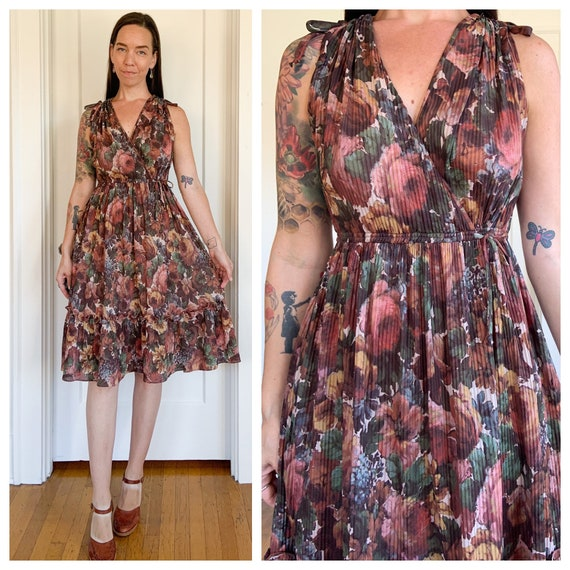 70s floral polyester accordion midi dress