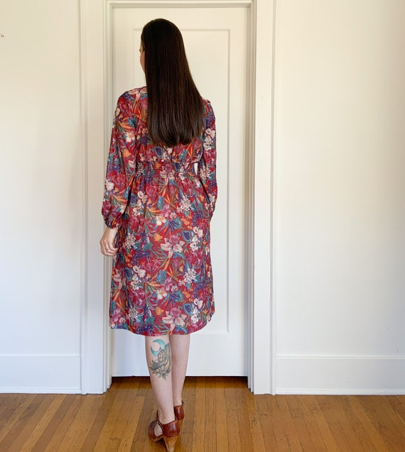 70s lightweight red floral polyester dress - image 4