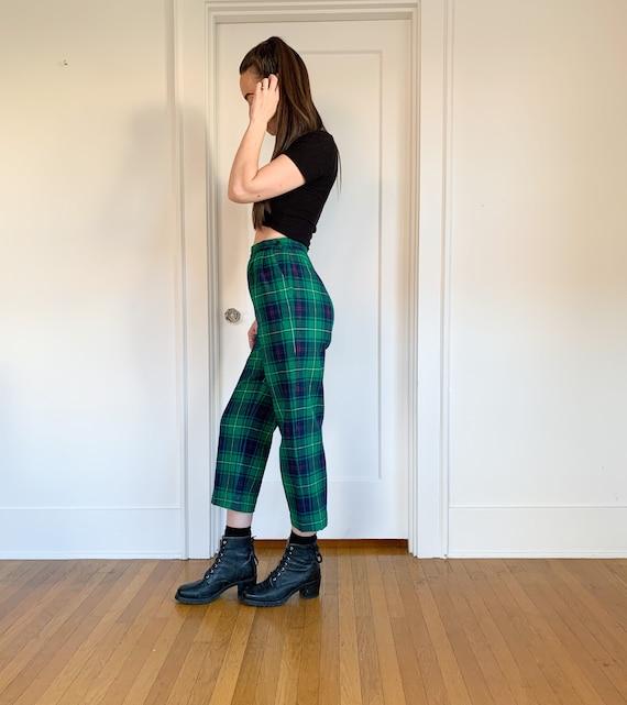 70s/80s Pendleton green plaid high waist pants 26 - image 8