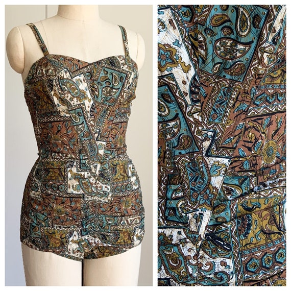 50s olive and teal Jantzen one piece bathing suit