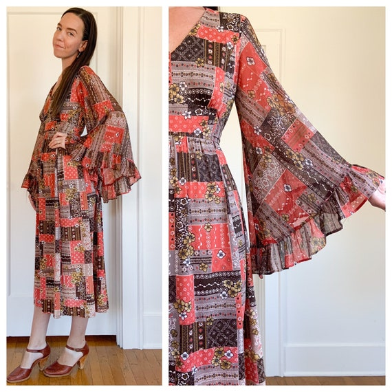 70s bell sleeve red printed maxi dress