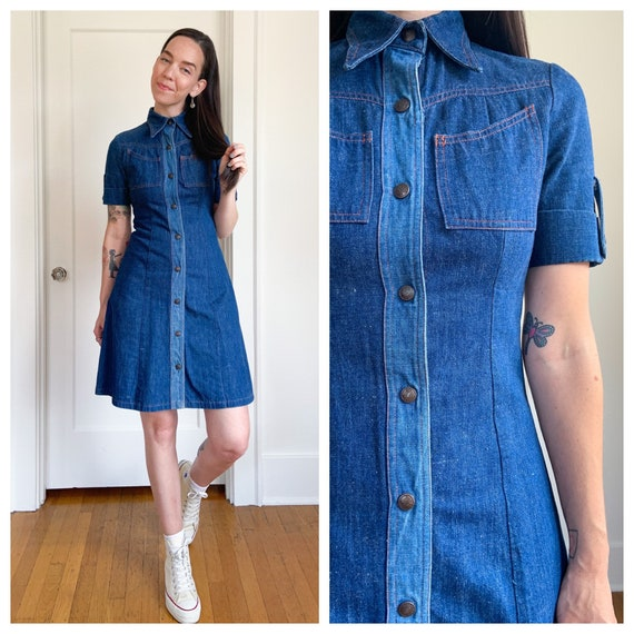 Two toned 70s blue denim dream dress