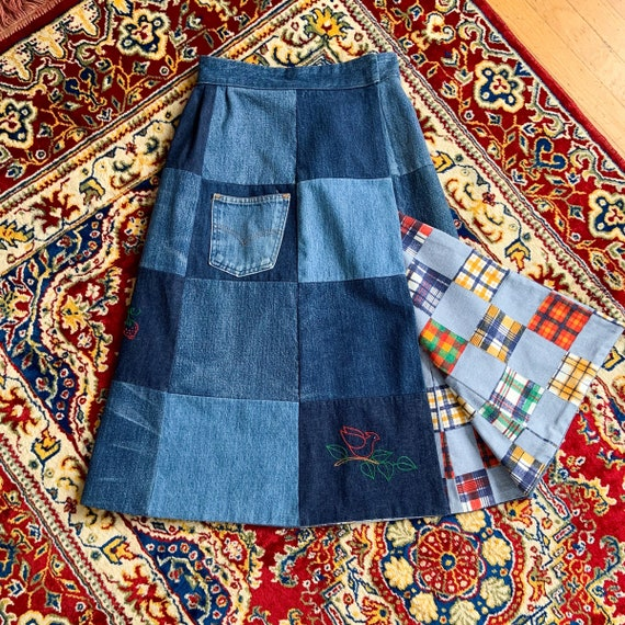 70s handmade embroidered patchwork denim wrap skir