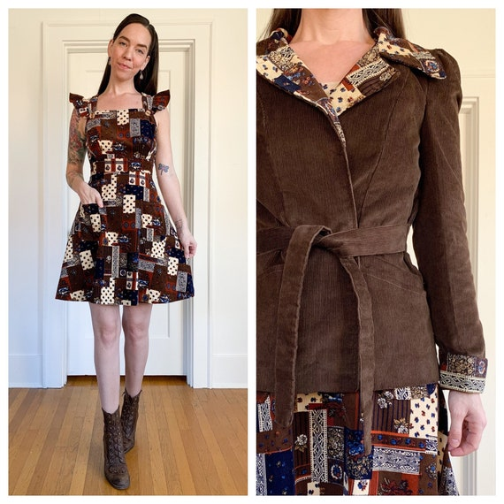 70s corduroy dress and jacket two piece outfit