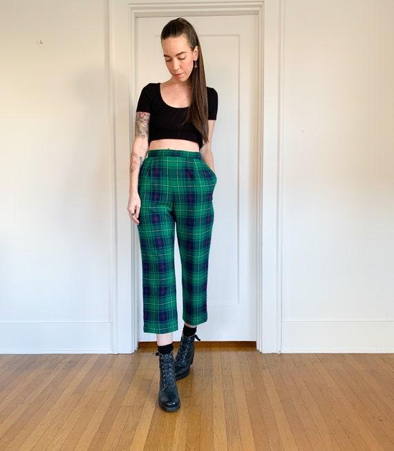 70s/80s Pendleton green plaid high waist pants 26 - image 9