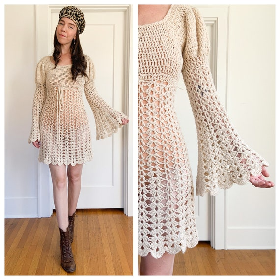 Hand knit crochet bell sleeve knit mini dress Smal