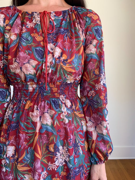 70s lightweight red floral polyester dress - image 2