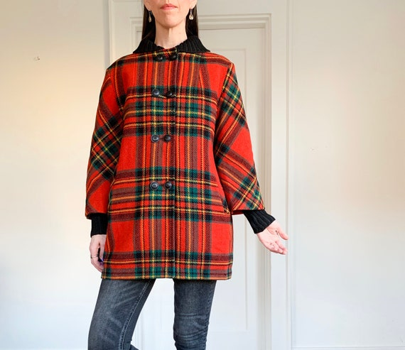 60s Red plaid bell sleeve coat