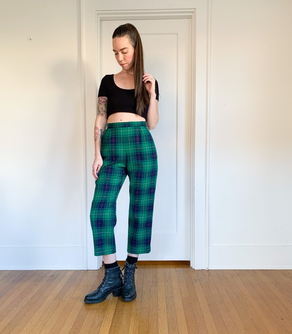 70s/80s Pendleton green plaid high waist pants 26 - image 10