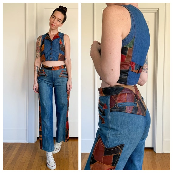 70s denim and patchwork leather 2 piece pants and