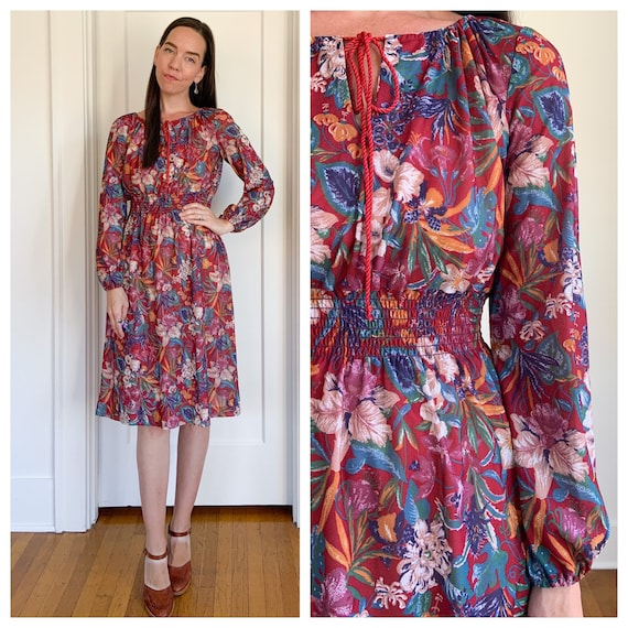 70s lightweight red floral polyester dress