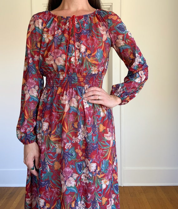 70s lightweight red floral polyester dress - image 3