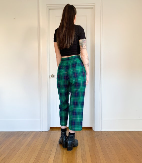 70s/80s Pendleton green plaid high waist pants 26 - image 7