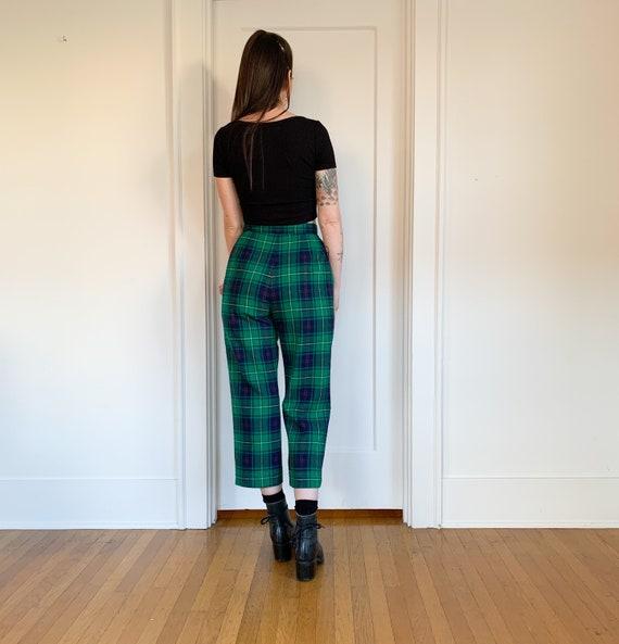 70s/80s Pendleton green plaid high waist pants 26 - image 4