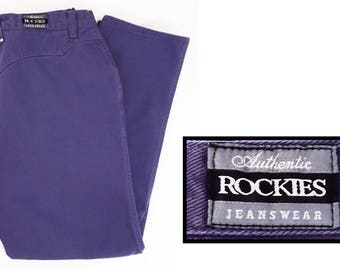 4af38f90a08 80 s Rocky Mountain jeans   Rockies vintage purple western pants   high  waisted   Made in USA   31 X 29