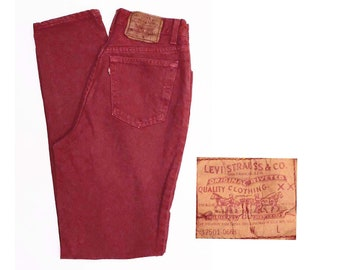 24c9cb8ea18 80 s RED Levi s jeans   vintage tapered leg   denim pants size 27 X 31    made in USA