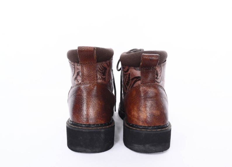 90/'s chunky ankle boots  square toe lace up ankle boots  vintage tooled leather booties  women/'s size 6.5