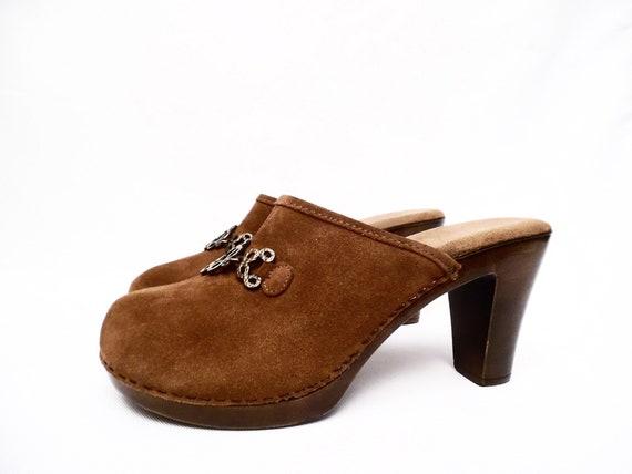 90's leather mules  / vintage suede platform clog… - image 4