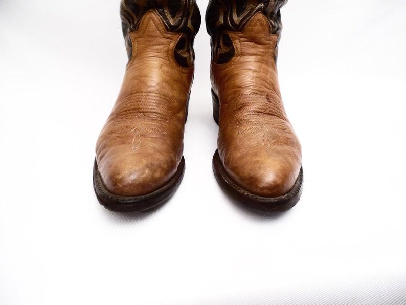 90/'s TONY LAMA cowboy boots  two tone leather  size 7 D men/'s  women/'s 8