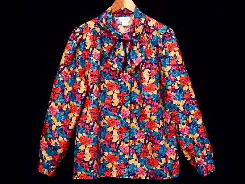 80/'s FLORAL puff sleeve blouse  made in USA vintage shirt  size 12  by Laura Mae