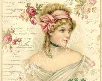 The French Rose Script digital image download Paris pink Buy 3 Get one Free