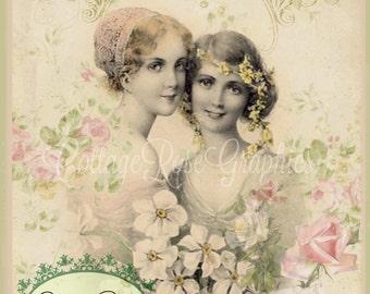 Vintage Victorian FRIENDS roses digital download cottage chic Buy 3 get one FREE