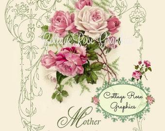 Pink Mother's Day collage Single Pink Roses Large digital download BUY 3 get one FREE ecs svfteam